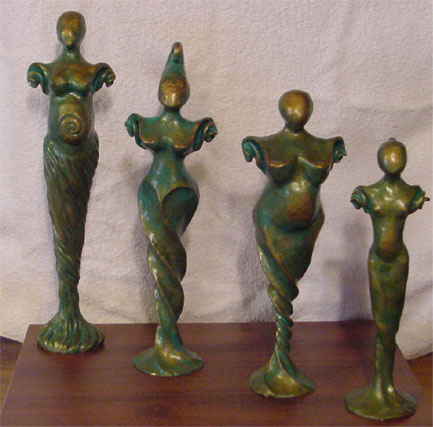 "14"" polymer clay figurines looks like aged bronze"